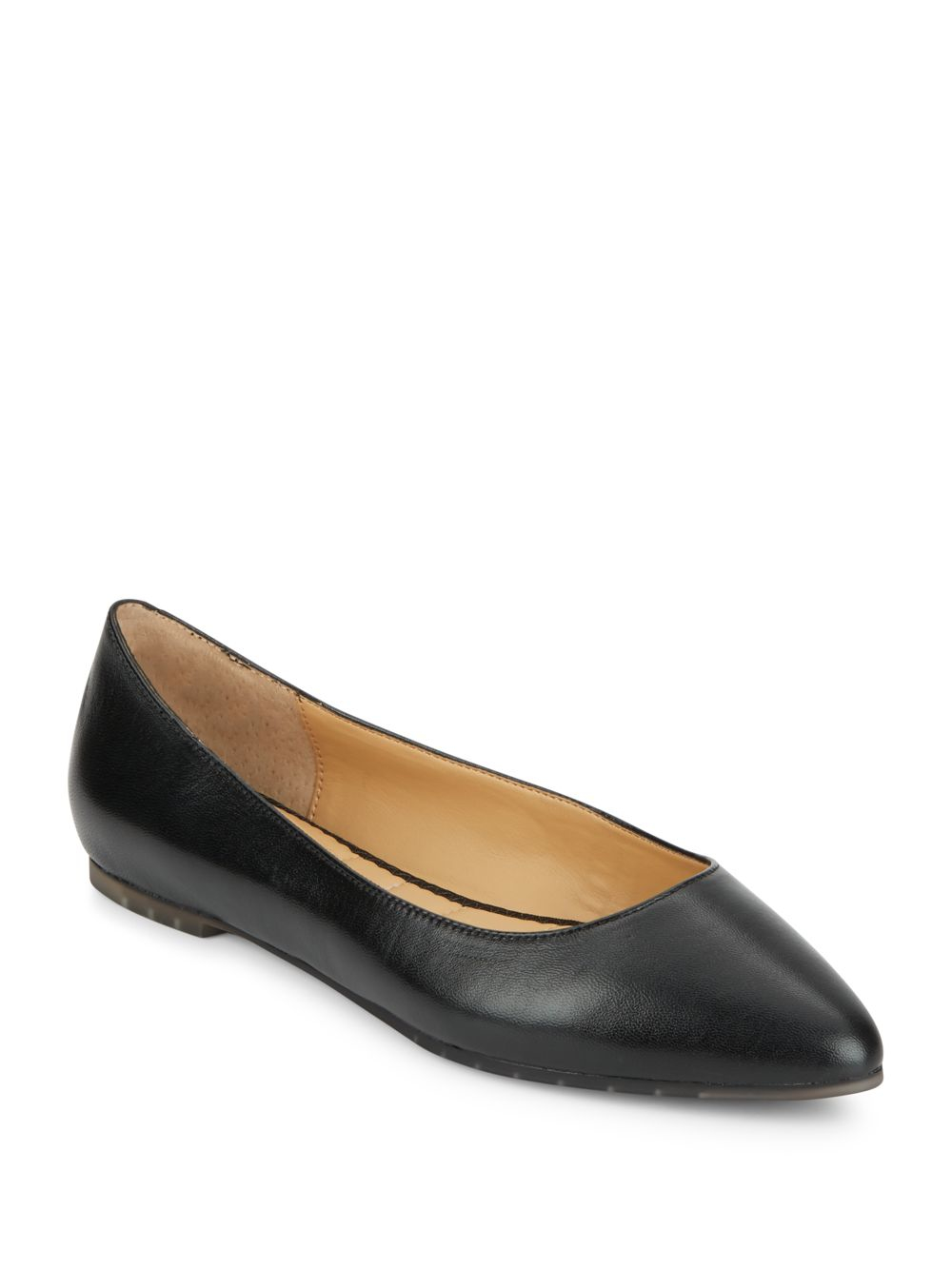 Me too Pointy Toe Leather Flats in Black | Lyst