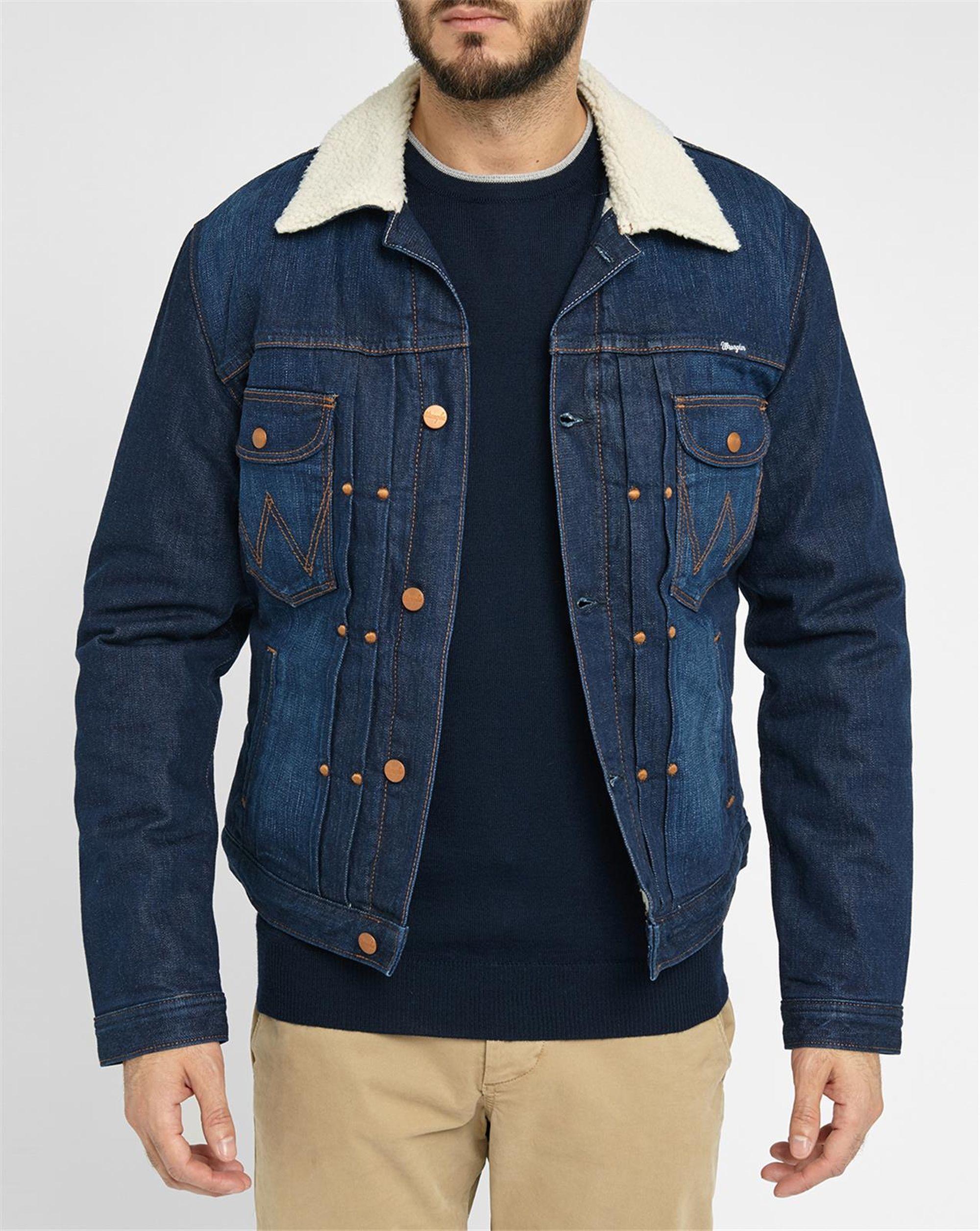 Wrangler blue denim sherpa jacket in blue for men lyst for Wrangler denim shirts uk