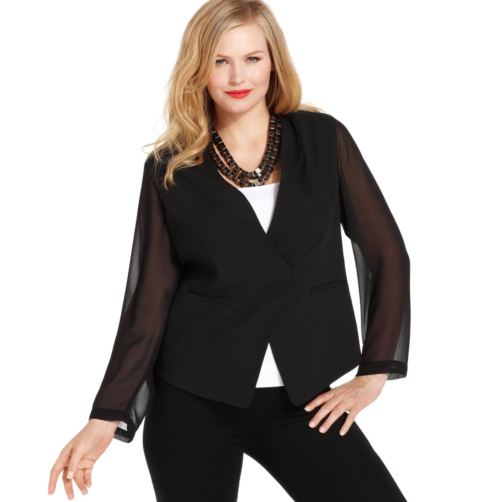 4994c38072625 Lyst - Vince Camuto Plus Size Sheer Sleeve Blazer in Black