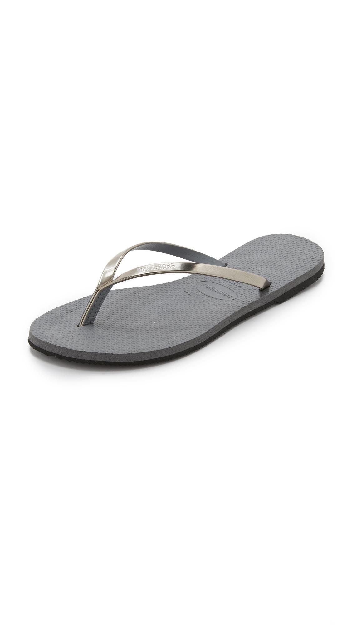 Havaianas You Metallic Flip Flops In Gray Lyst