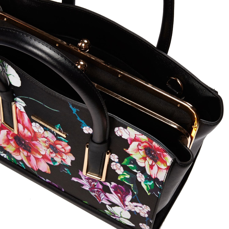 River Island Black Floral Print Frame Tote Bag