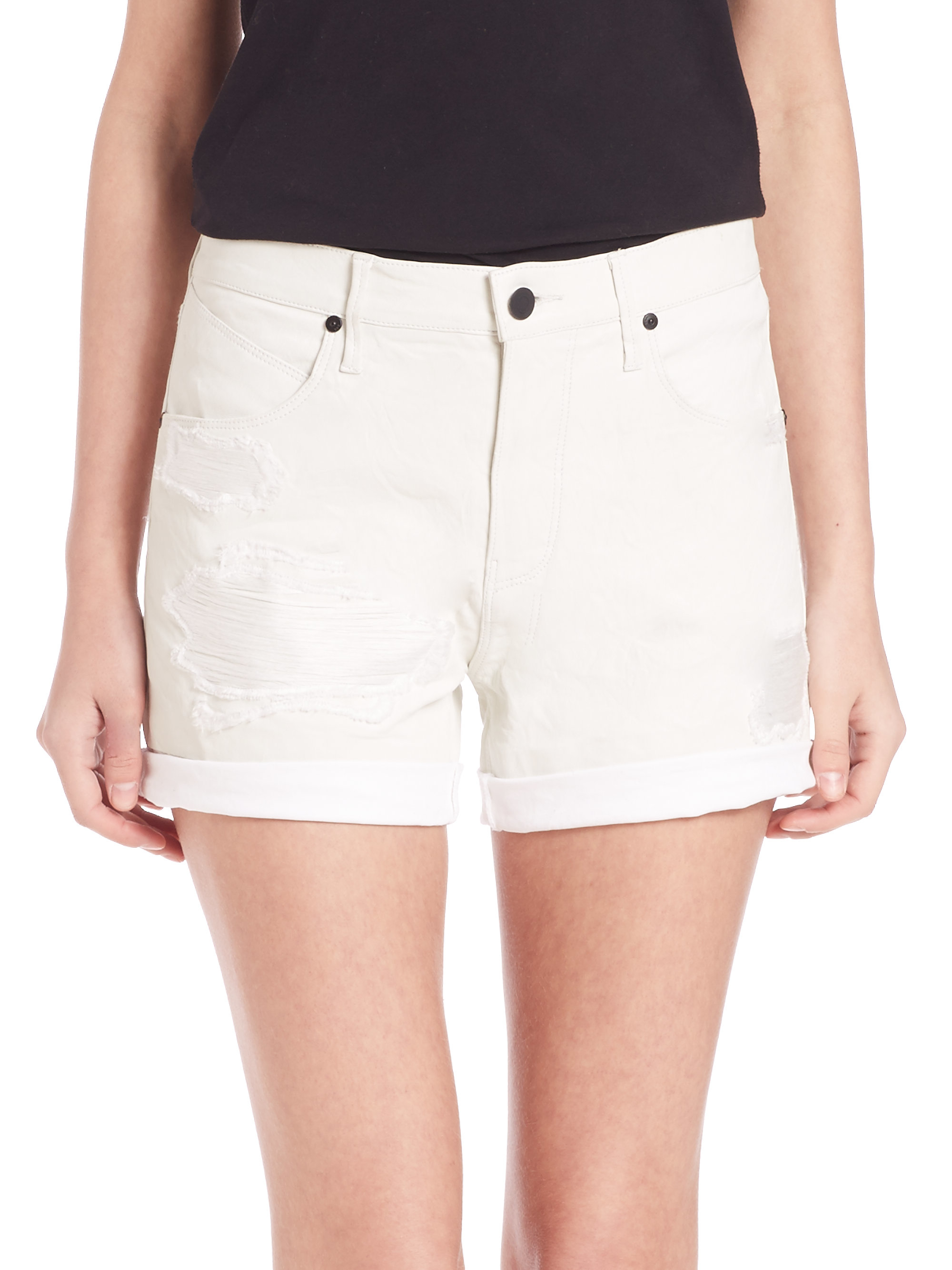037b8d78f3 RTA Olivia Distressed Leather Shorts in White - Lyst