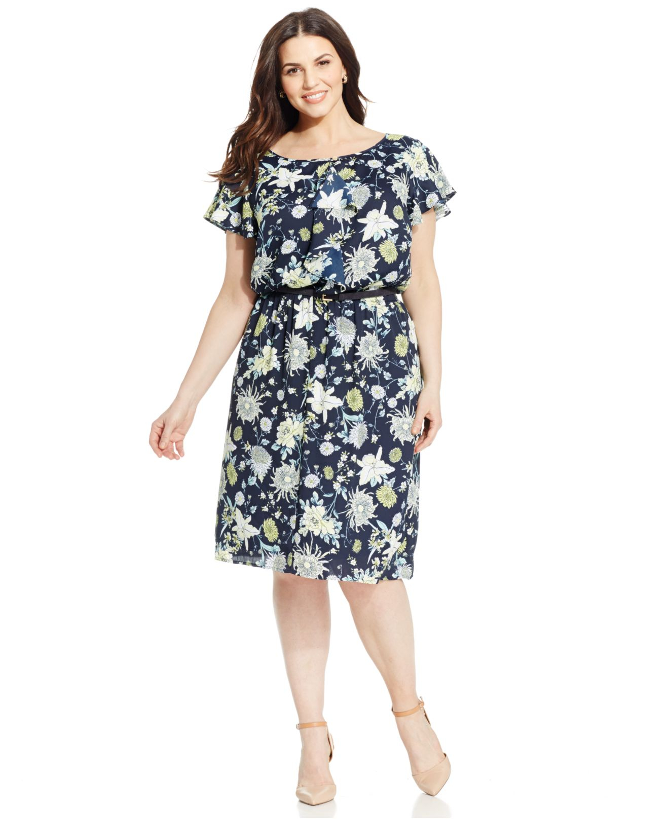 jones new york collection plus size floral print ruffled dress in blue lyst. Black Bedroom Furniture Sets. Home Design Ideas