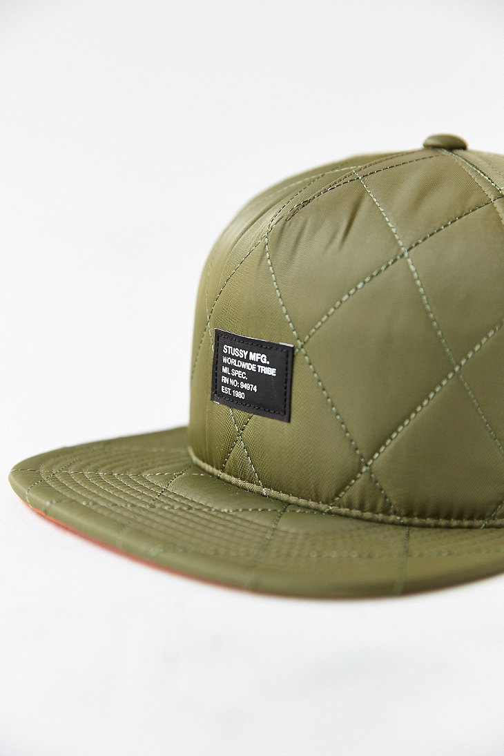 Lyst - Stussy Quilted Foam Snapback Hat in Green b0cdf551e7b3