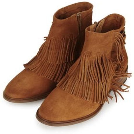 topshop arid fringe ankle boots in brown rust lyst