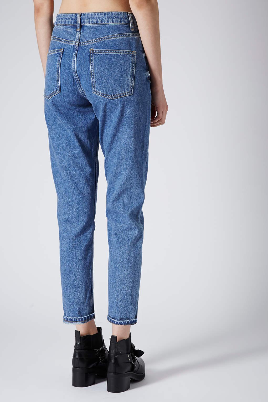 topshop petite moto vintage wash mom jeans in blue lyst. Black Bedroom Furniture Sets. Home Design Ideas
