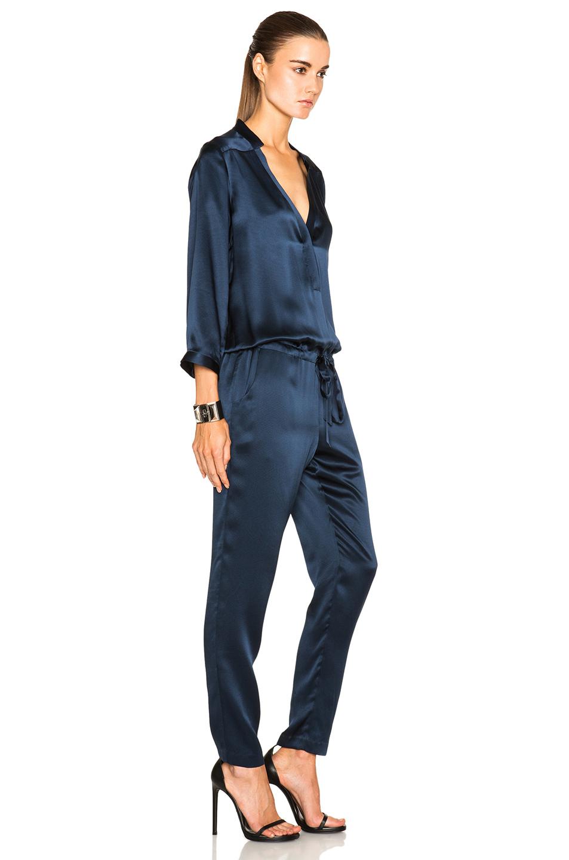 abf18f7a3a4 Lyst - Mason by Michelle Mason Deep V Jumpsuit in Blue