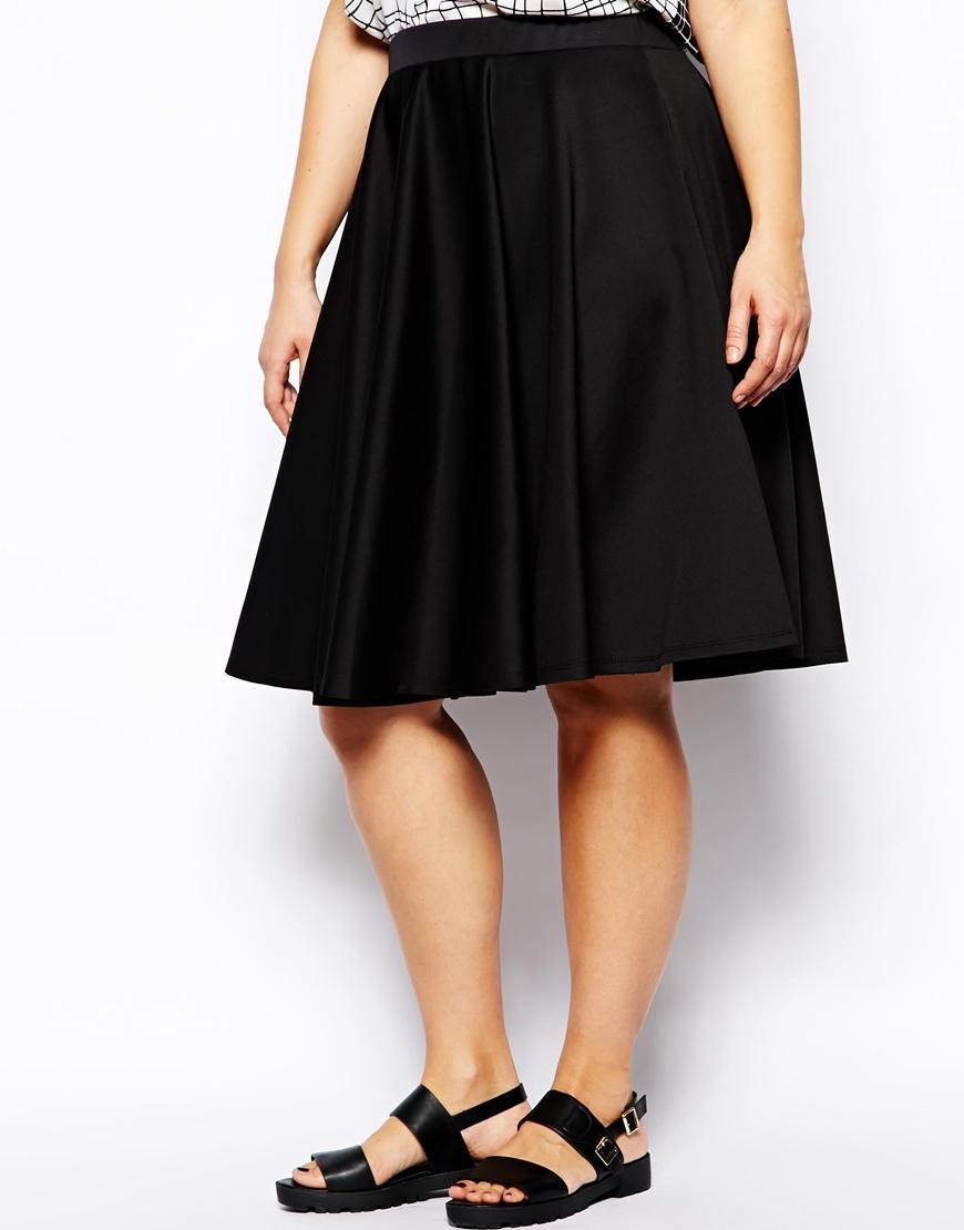 asos midi skirt in scuba in longer length in black lyst