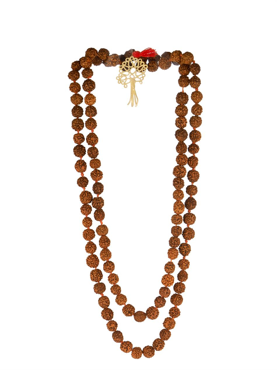 Zeus+Dione Rudraksha Bead Gold-Plated Necklace in Red