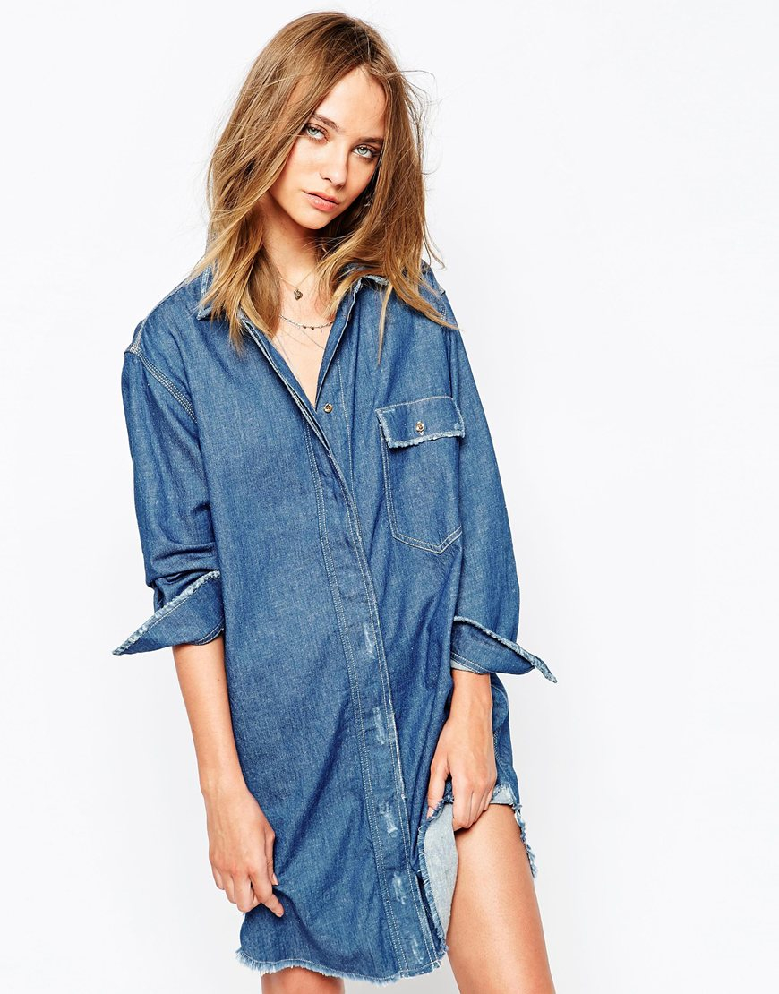 Gat rimon Agata Longline Denim Shirt Dress in Blue  Lyst