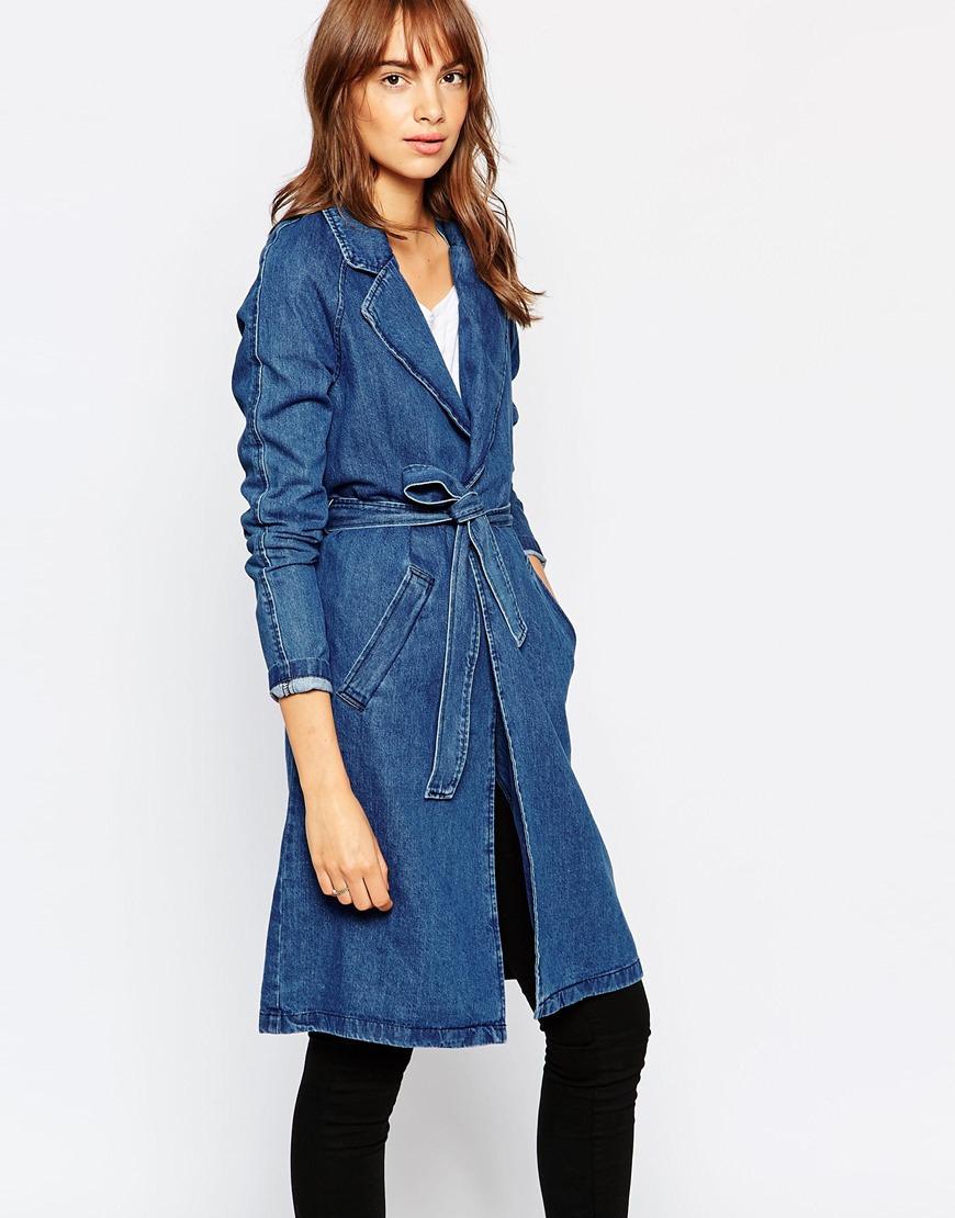 lyst vero moda belted denim duster coat in blue. Black Bedroom Furniture Sets. Home Design Ideas