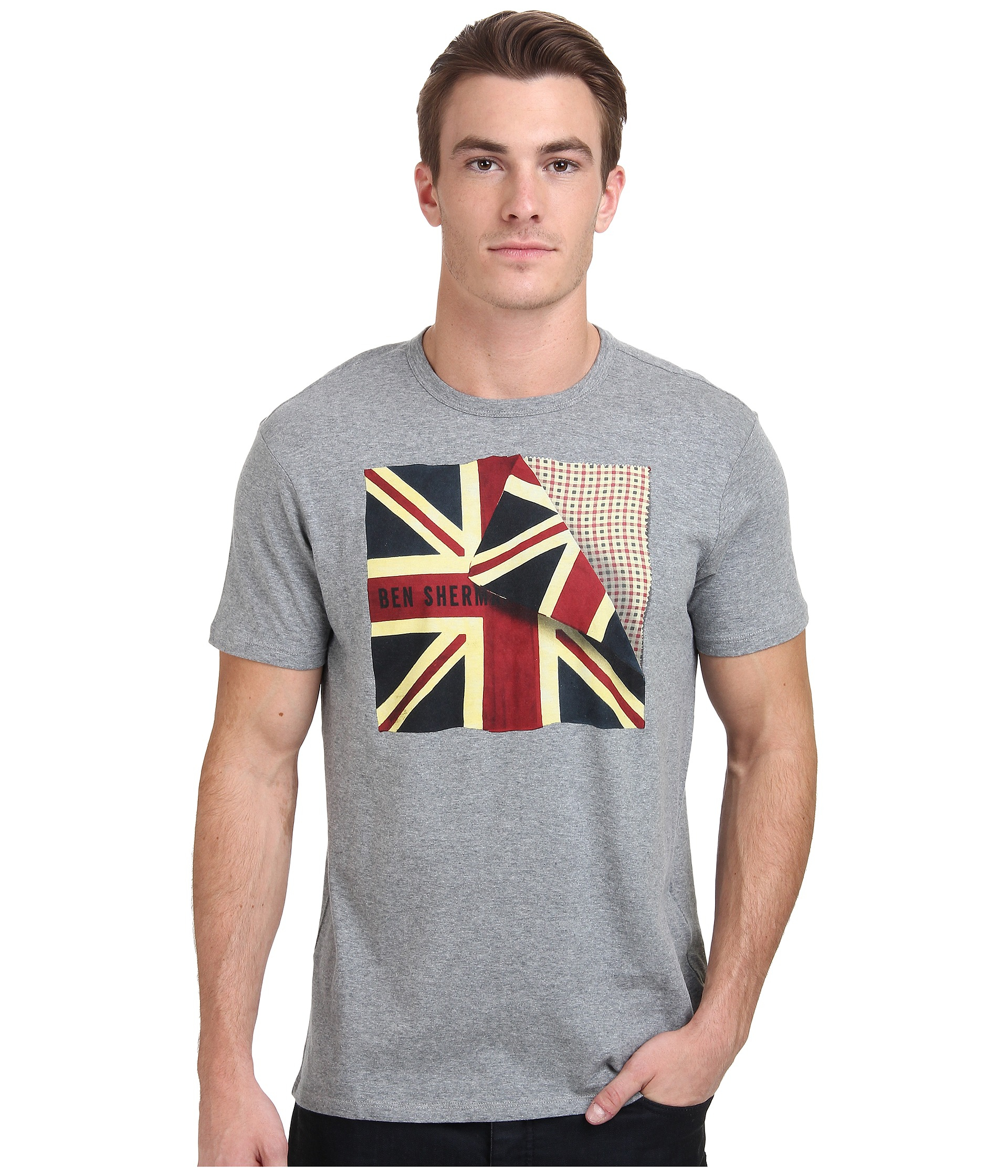 Ben sherman short sleeve folded flag tee shirt mb11468 in for Silver jeans t shirts