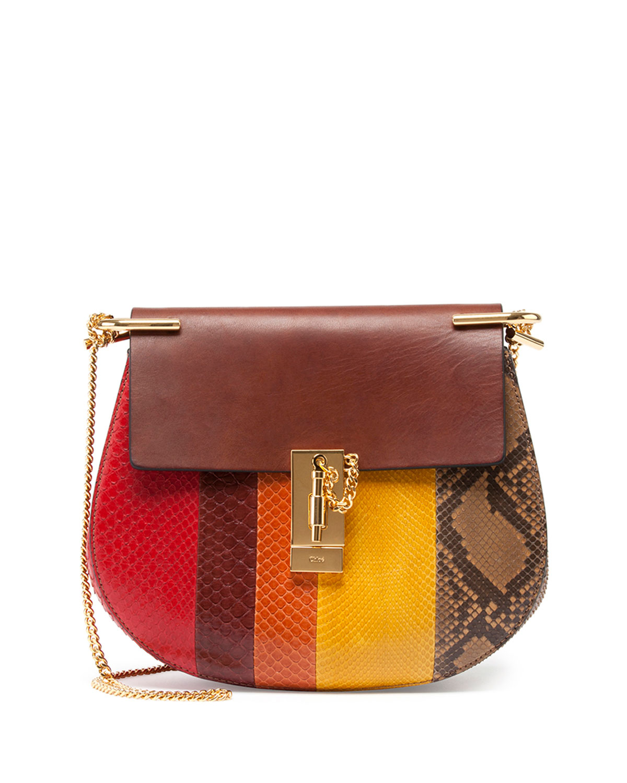 chlo drew python shoulder bag in red brown pattern lyst. Black Bedroom Furniture Sets. Home Design Ideas