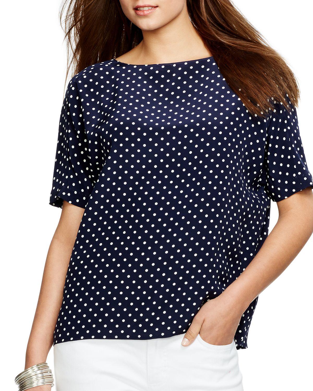 52ad221b0bbdf Lyst - Ralph Lauren Lauren Polka Dot Silk Top in Blue