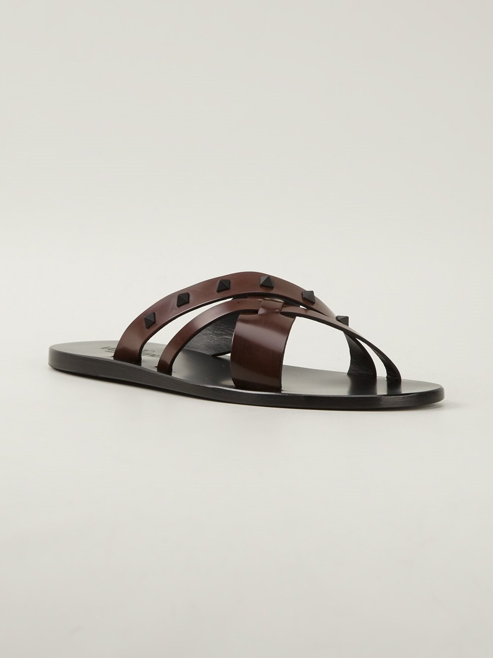 Valentino Studded Flip Flops In Brown For Men - Lyst-8324