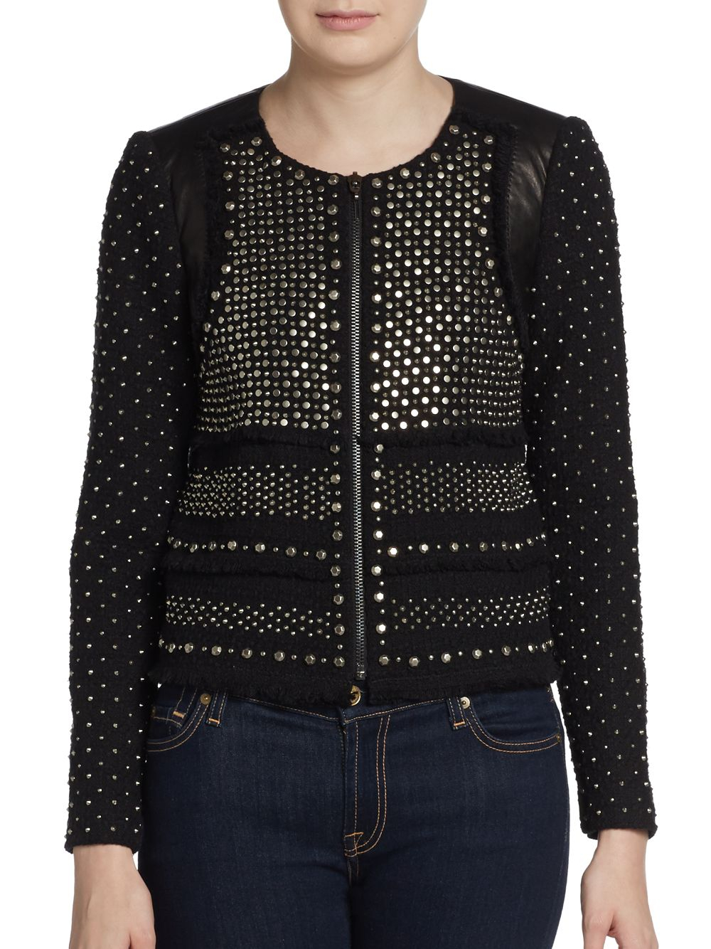 Rebecca Taylor Studded Leather Paneled Tweed Jacket In Black Lyst