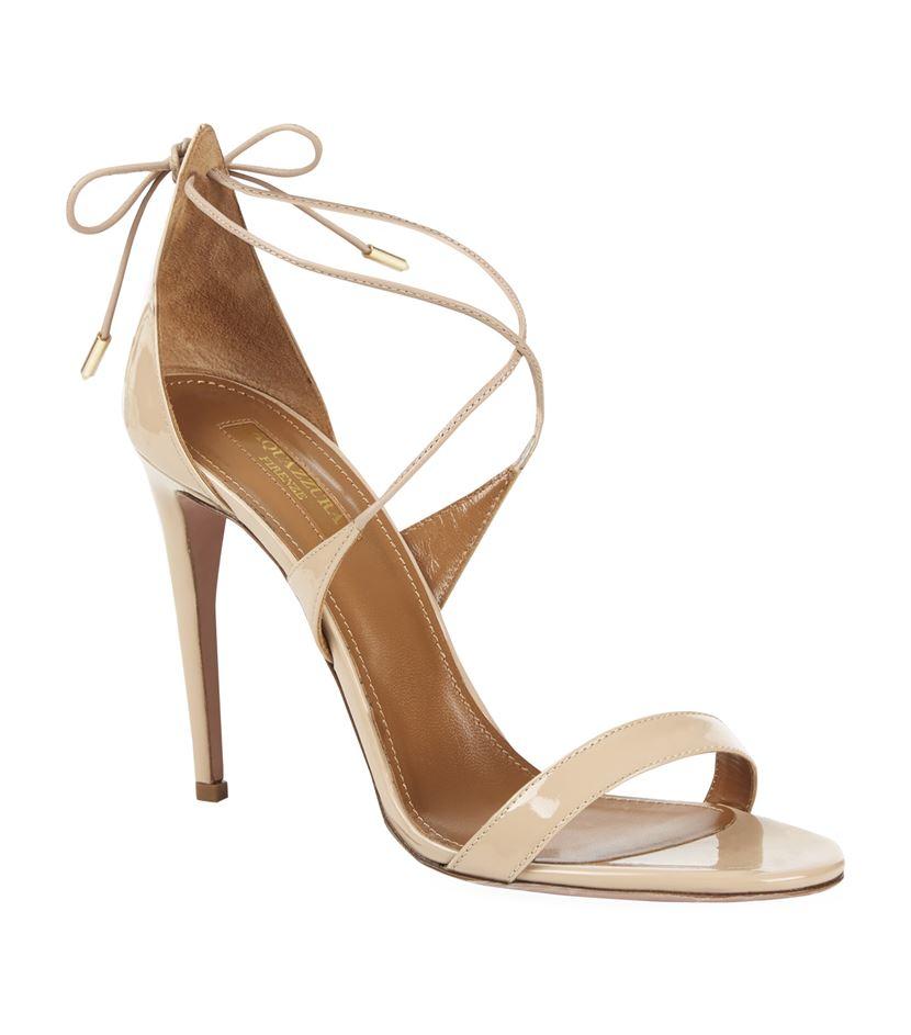 1d3f4feebf21 Aquazzura Linda 105 Lace-up Sandal in Pink - Lyst