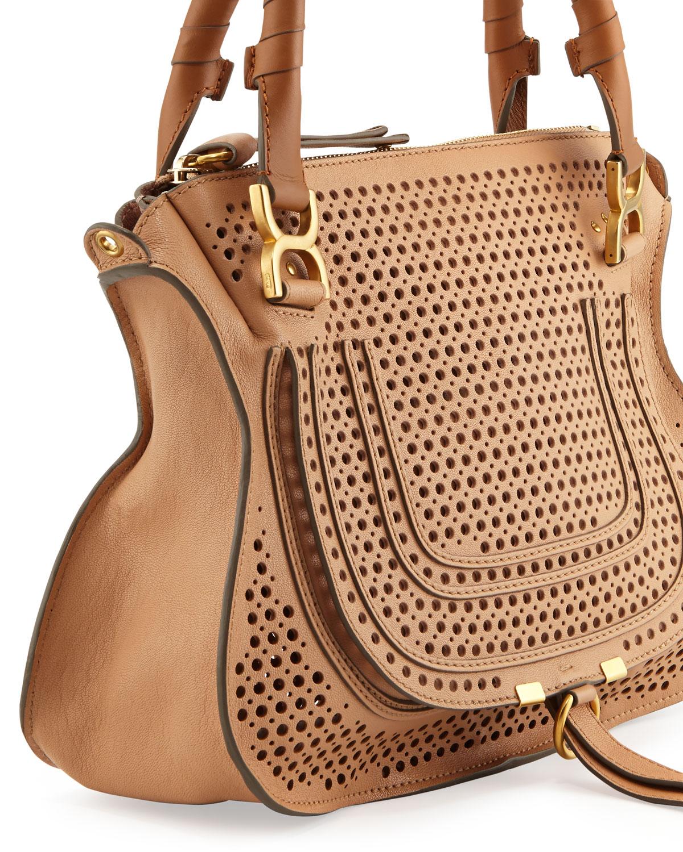 Chlo¨¦ Marcie Perforated Medium Shoulder Bag Brown in Brown | Lyst