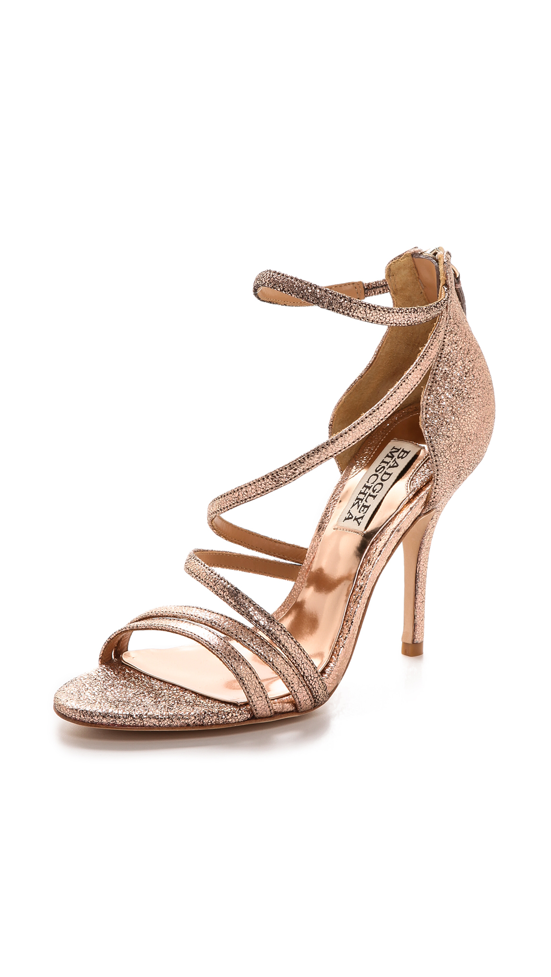Badgley mischka Landmark Ii Strappy Sandals Rose Gold in Pink