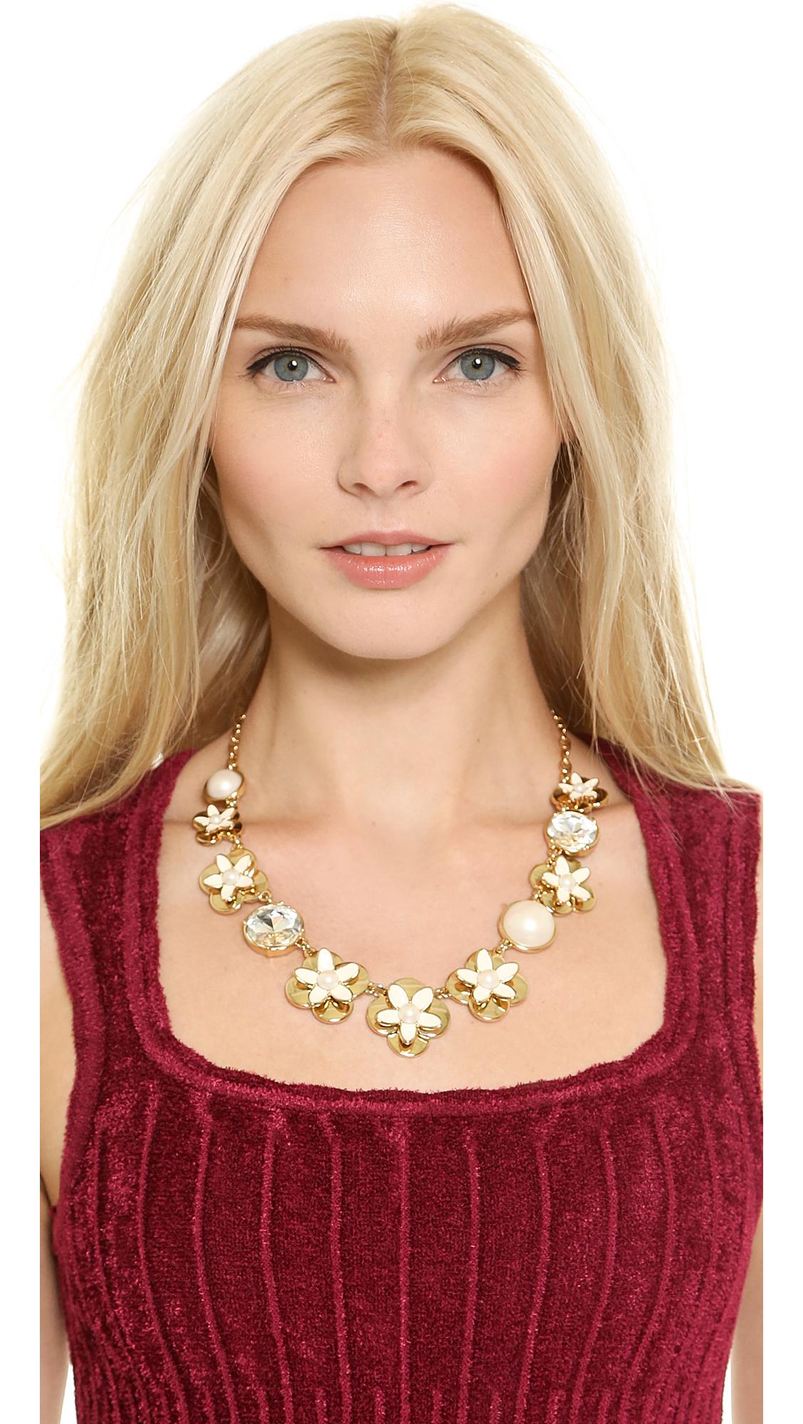 Kate Spade Window Seat Bouquet Graduated Necklace - Cream Multi in Metallic