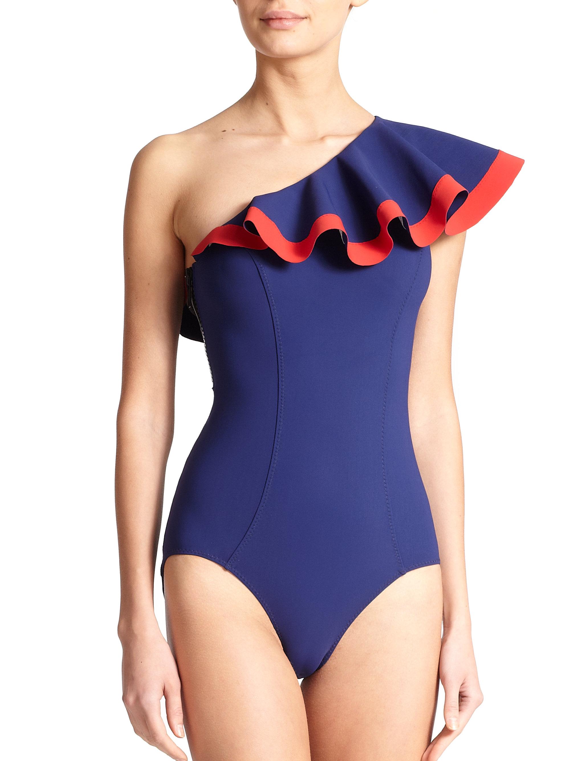 27469dcef0 Lyst - Lisa Marie Fernandez One-piece Arden Flounce Swimsuit in Blue