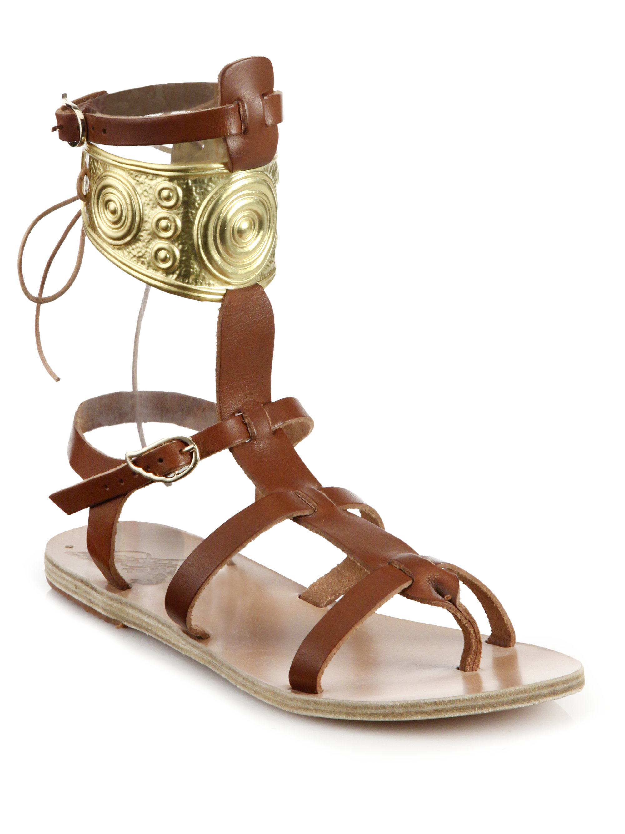 0a960ba8895bf Ancient Greek Sandals Brown Ilias Lalaounis Rhodes Leather Gladiator Sandals