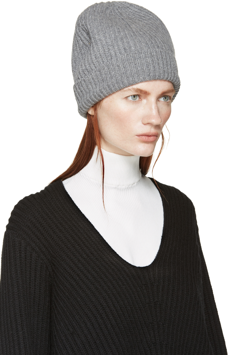 Lyst - Acne Studios Grey Wool Canning Beanie in Gray e617afdf7619