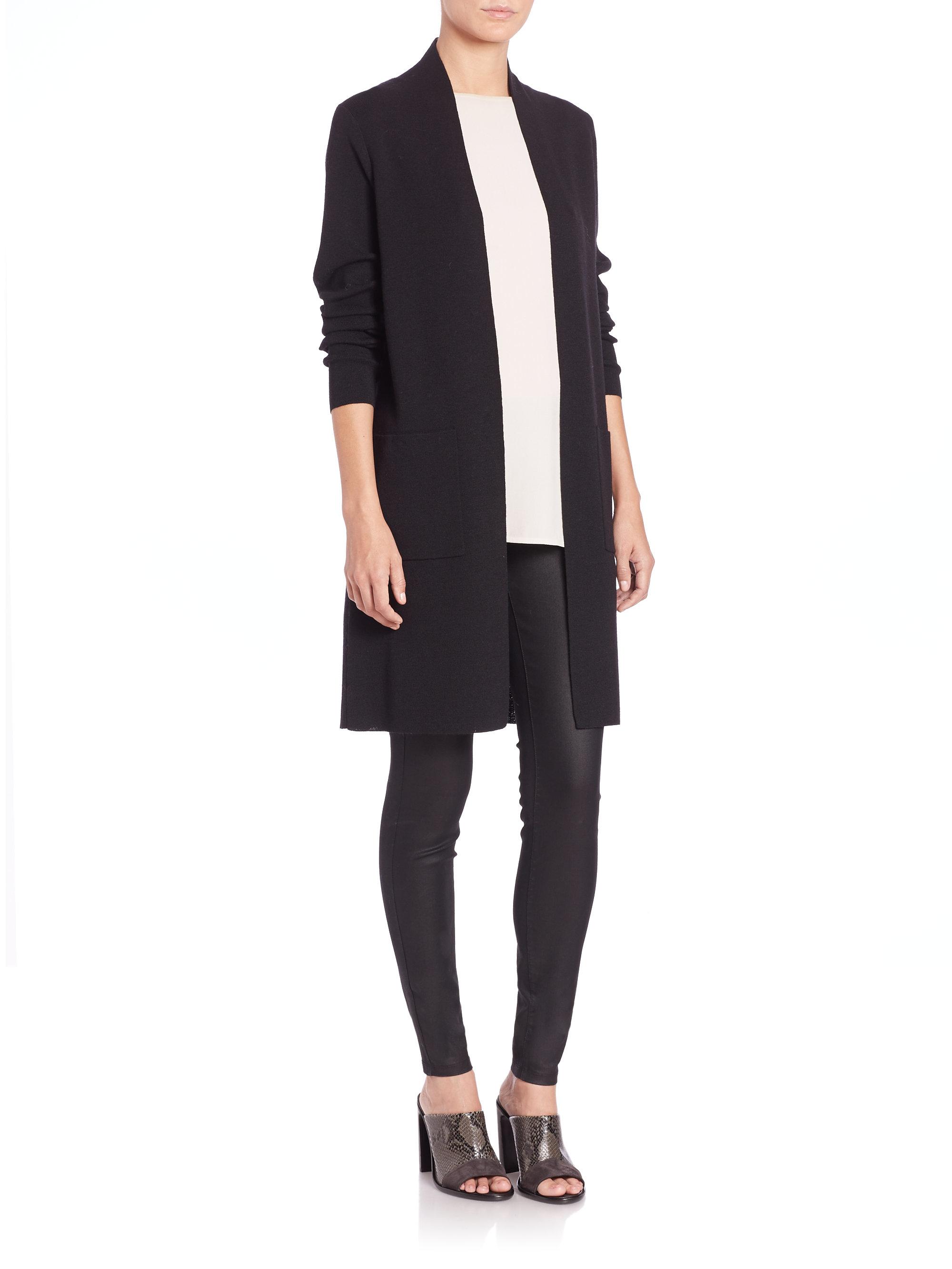 Eileen Fisher Icon Long Wool Cardigan In Black Lyst