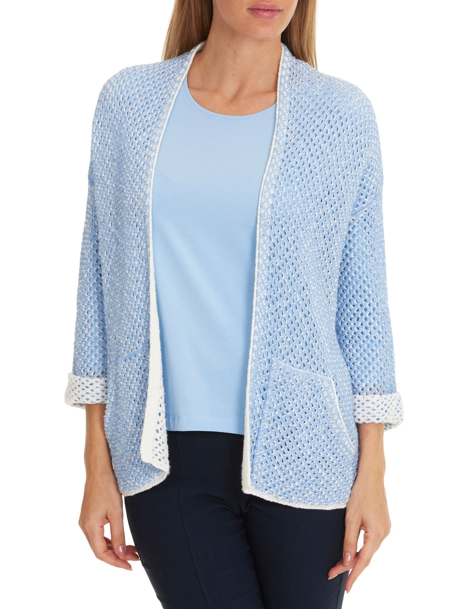 Knitting Pattern For Edge To Edge Cardigan : Betty barclay Open Knit Edge-to-edge Cardigan in Blue Lyst