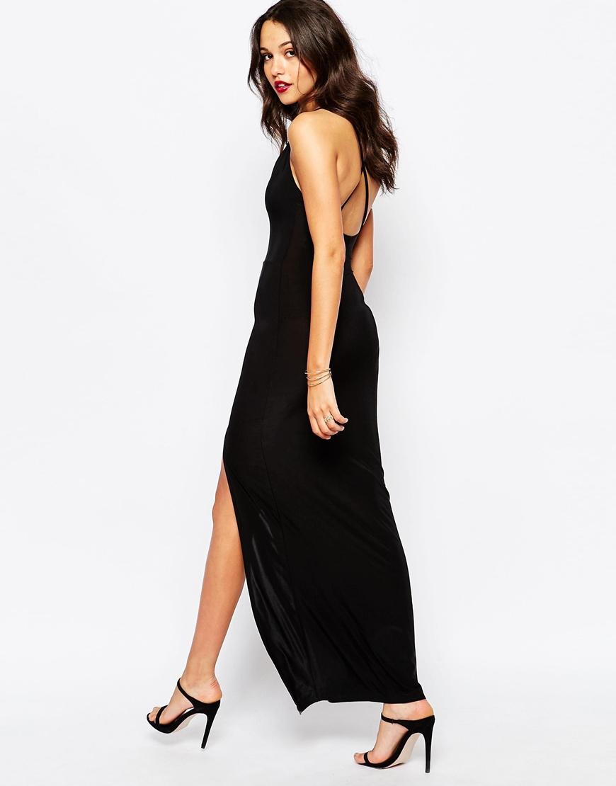Boohoo Thigh High Split Maxi Dress In Black Lyst
