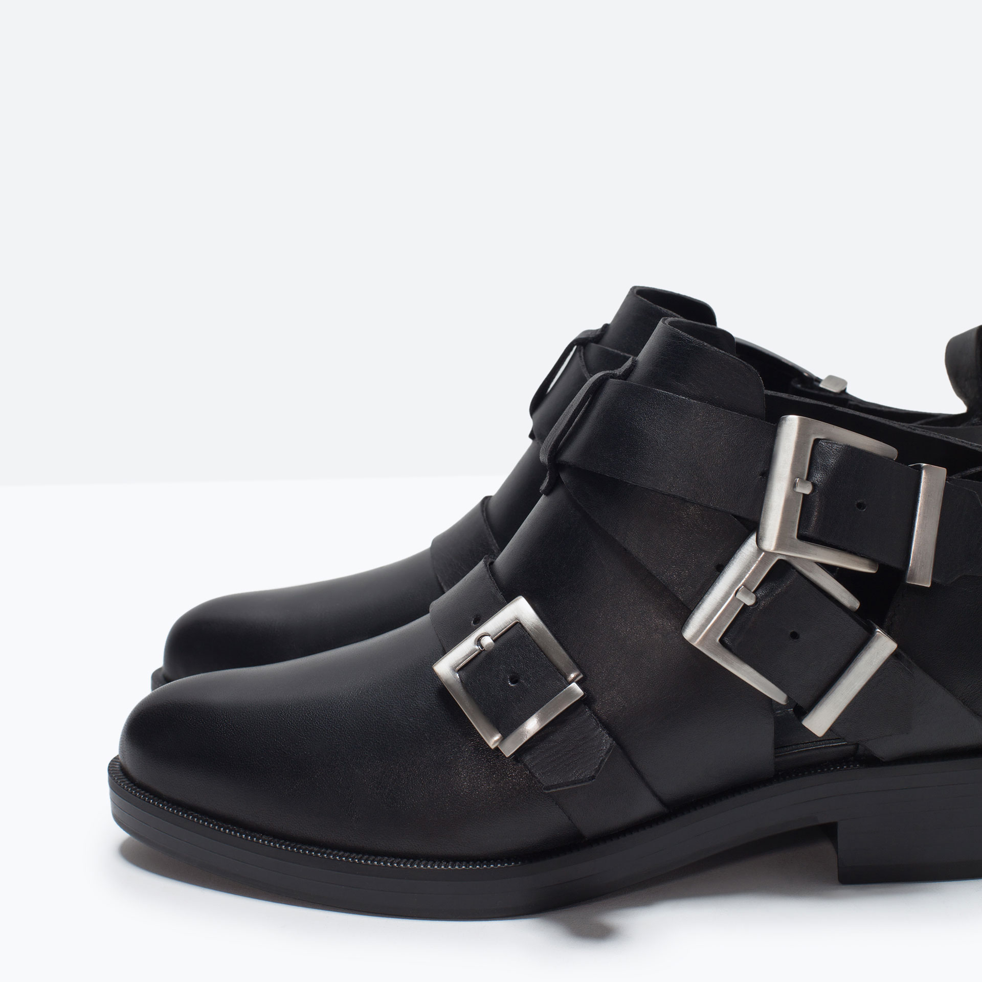 zara leather ankle boot with buckles leather ankle boot