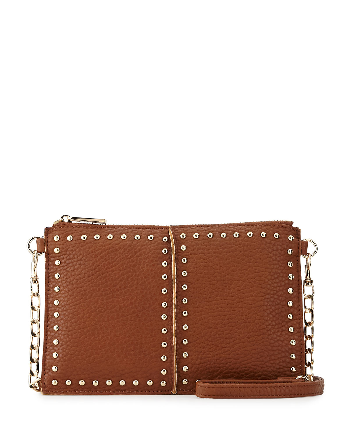 neiman studded faux leather crossbody bag in brown