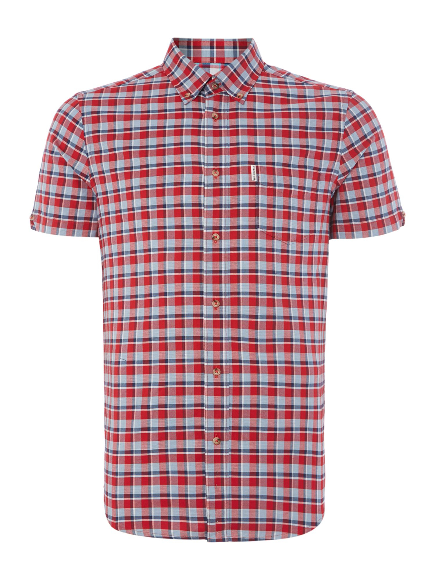 Ben sherman check slim fit short sleeve button down shirt for Athletic fit button down shirts