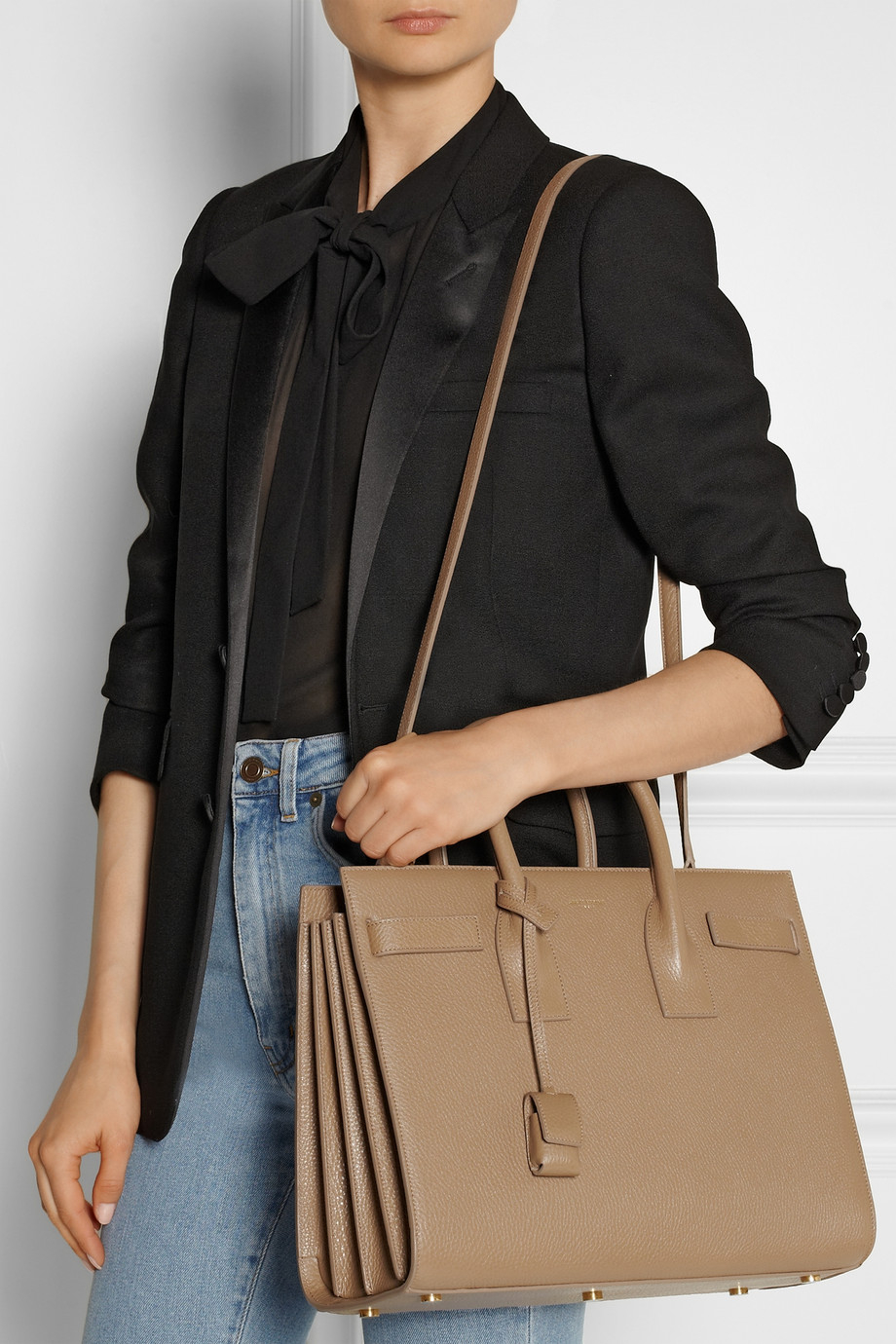 Saint Laurent Sac De Jour Small Leather Tote In Brown Lyst