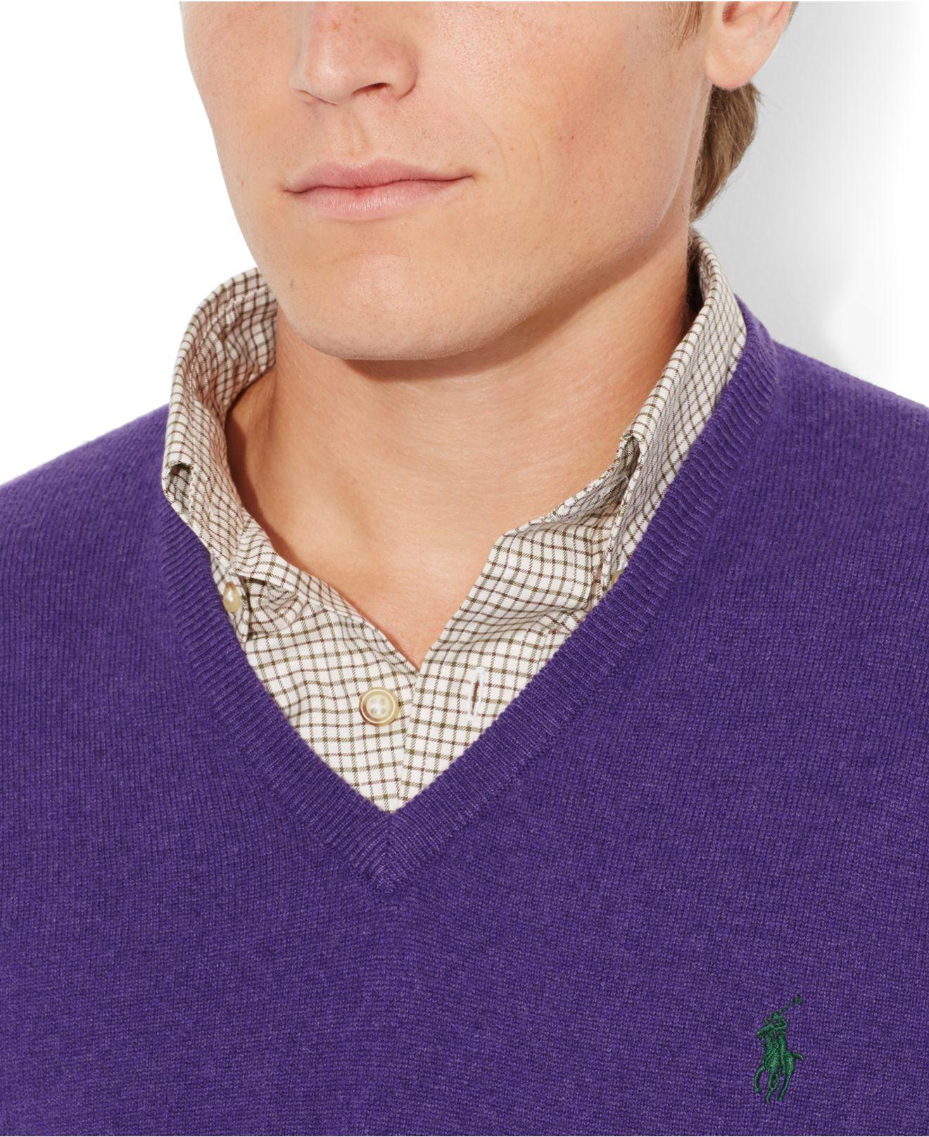Polo ralph lauren Loryelle Merino Wool V-Neck Sweater in Purple ...