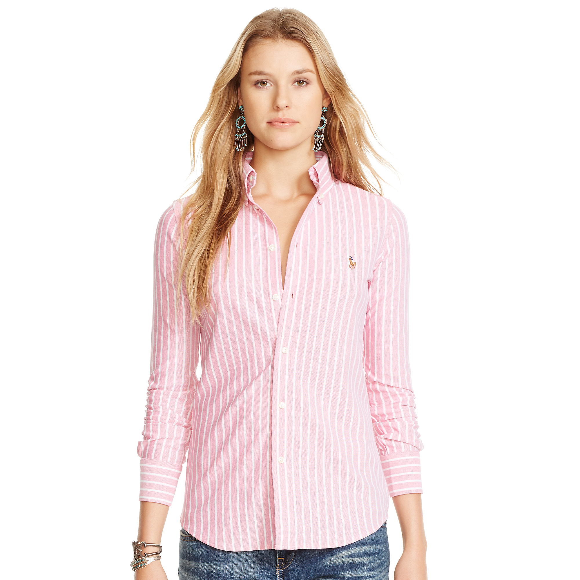 Lyst Polo Ralph Lauren Striped Knit Oxford Shirt In Pink