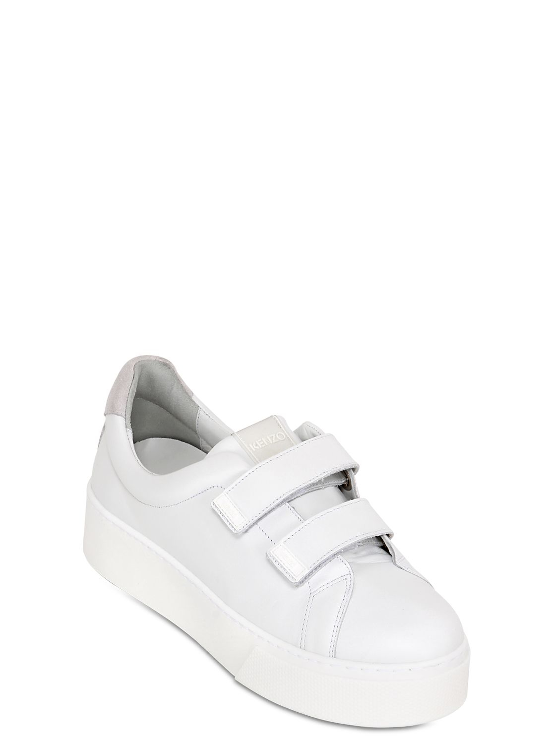 980b5d2fe141 Lyst - KENZO 50mm Chunky Leather Sneakers in White