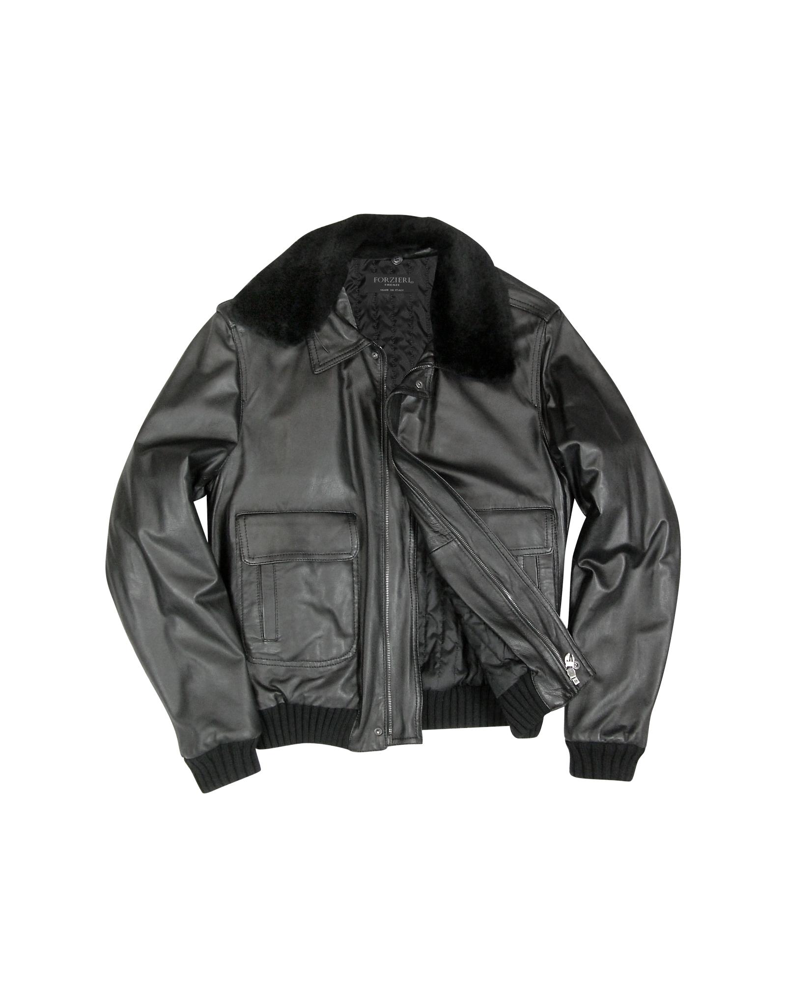 Forzieri Men's Black Leather Jacket W/detachable Shearling ...