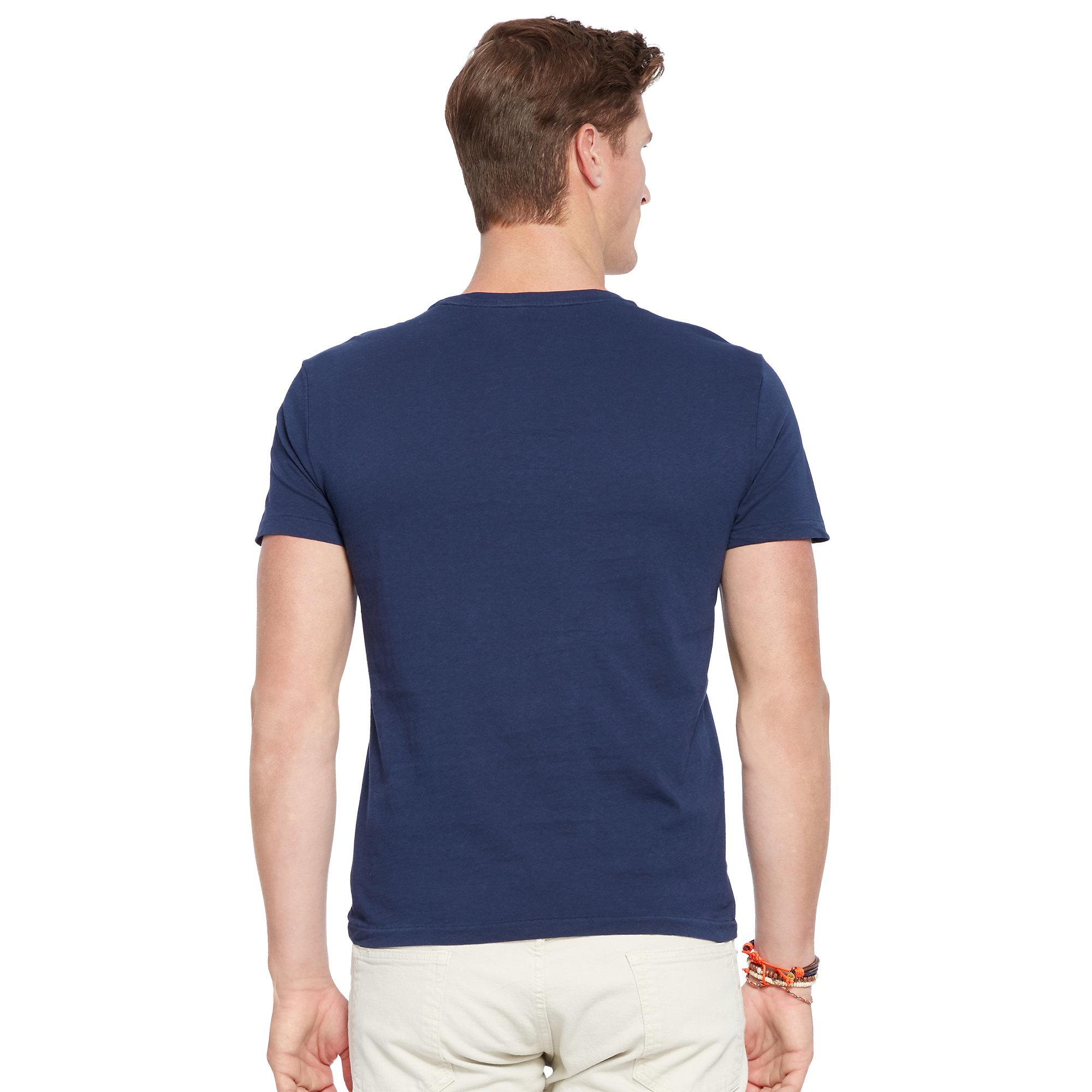 Polo ralph lauren custom fit graphic t shirt in blue for for Polo custom fit t shirts