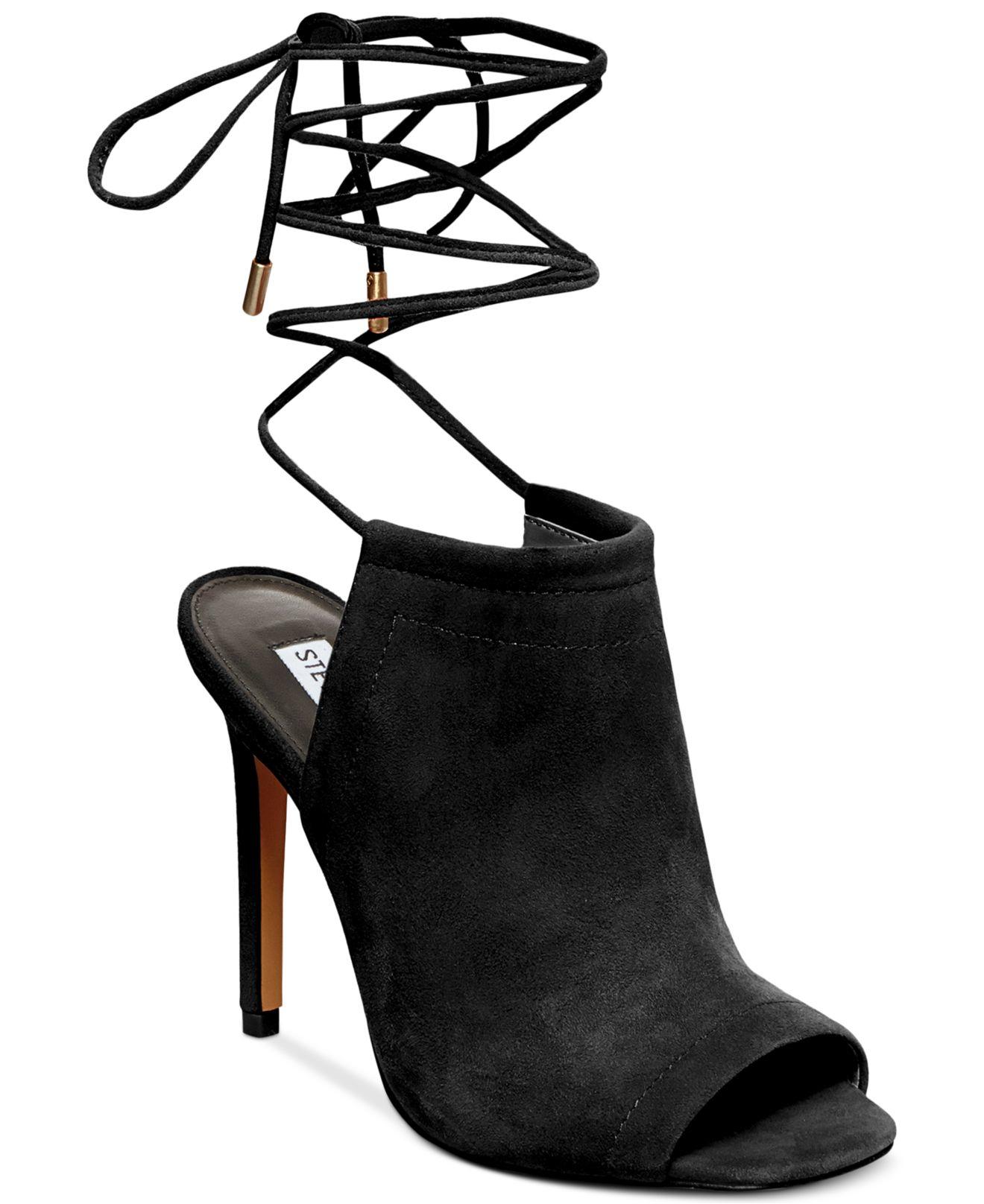 Lyst - Steve Madden Sophie Ankle Wrapped Sandals in Black