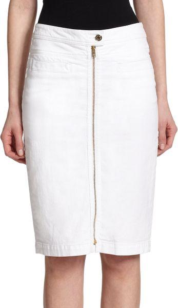 7 for all mankind denim zip pencil skirt in white runway