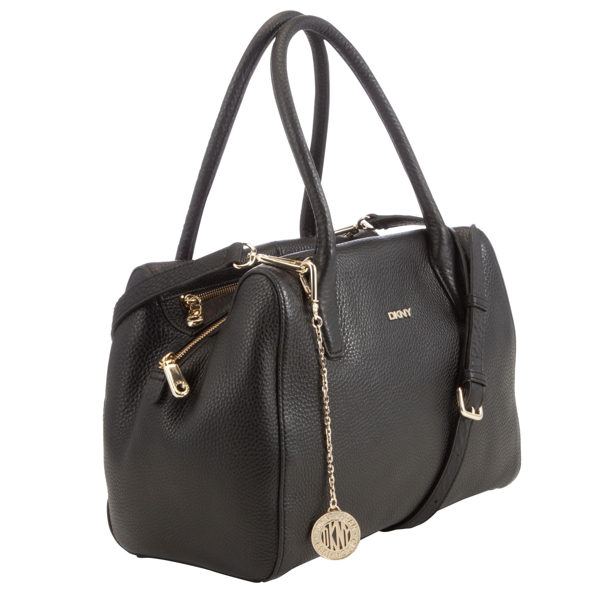 dkny tribeca zip leather satchel bag in black lyst