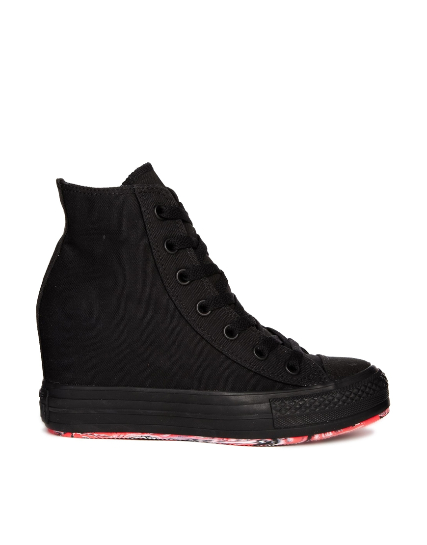 converse chuck all wedge black trainers in