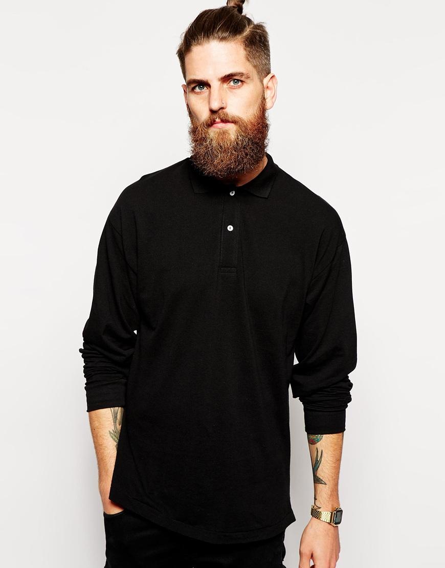 Lyst american apparel long sleeve pique polo shirt in for Mens long sleeve pique polo shirts