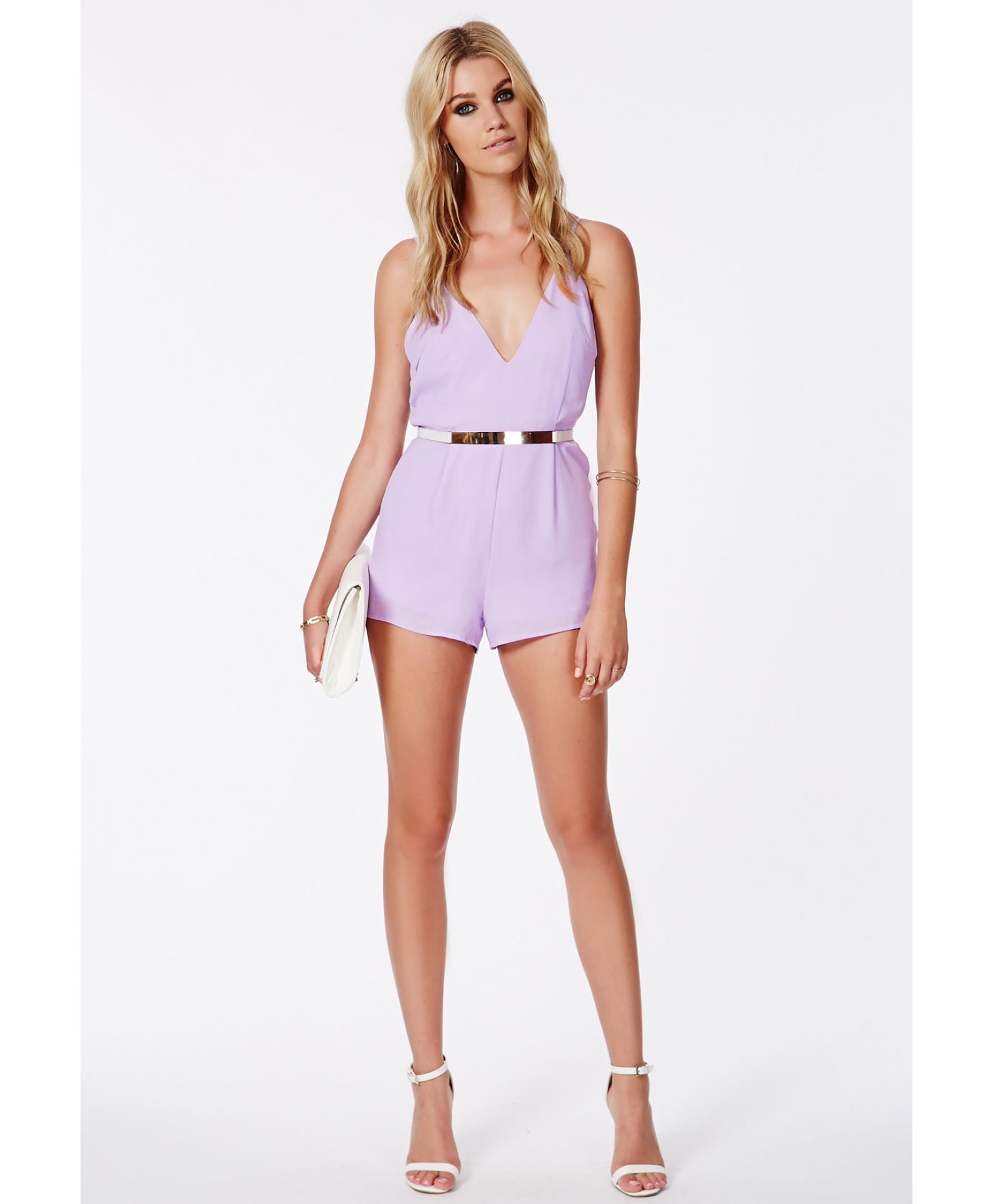 5057f7f89468 Missguided Lintley Chiffon Strappy Romper Lilac in Purple - Lyst