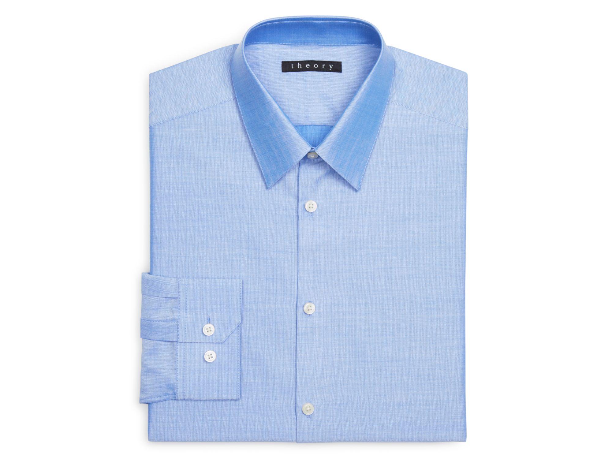Theory sparlan regular fit dress shirt in blue for men lyst for Regular fit dress shirt
