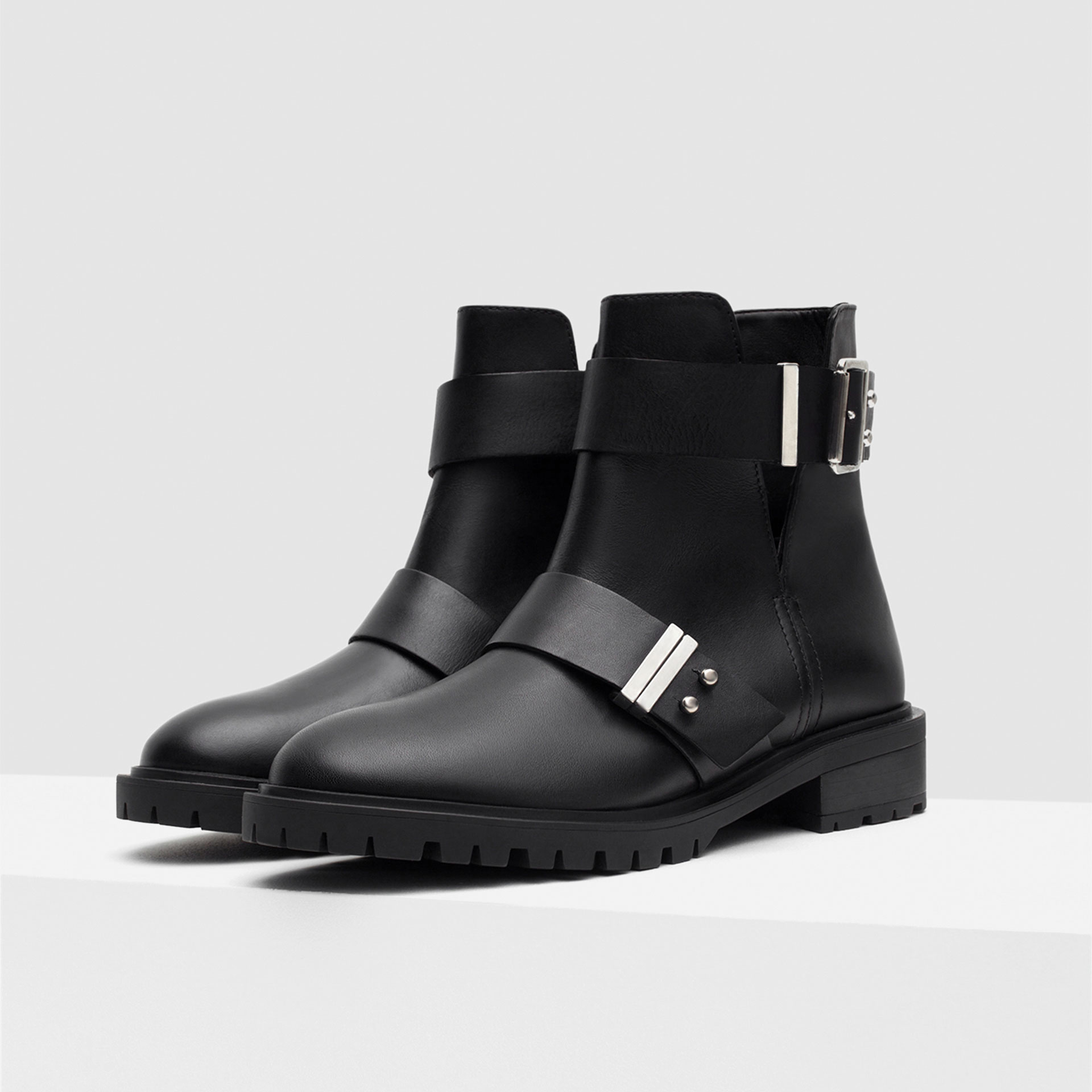 zara leather biker boots with buckles in black lyst