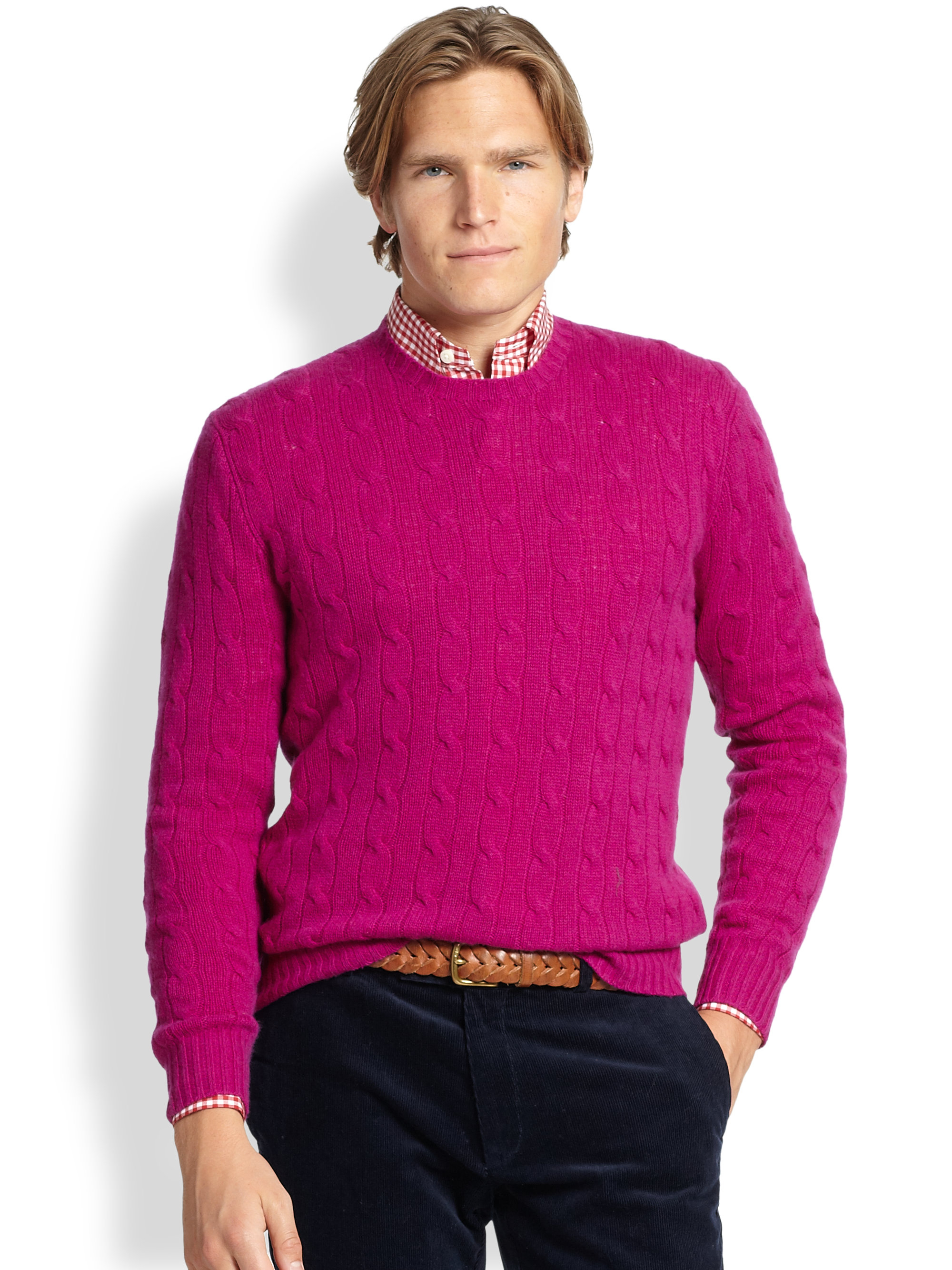 Polo ralph lauren Cable-knit Cashmere Sweater in Pink for Men | Lyst