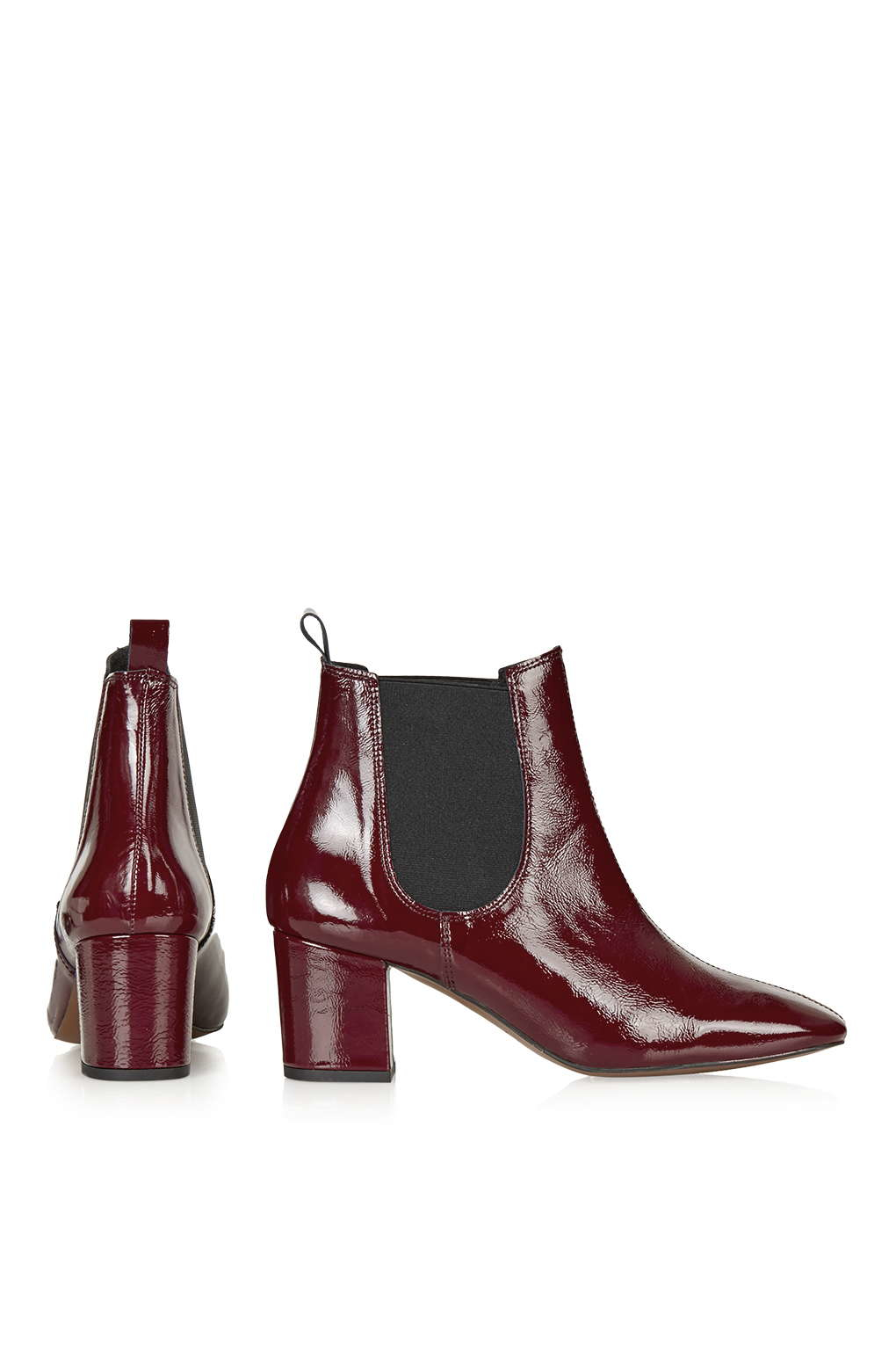 TOPSHOP Mary '60s Chelsea Boots in Red