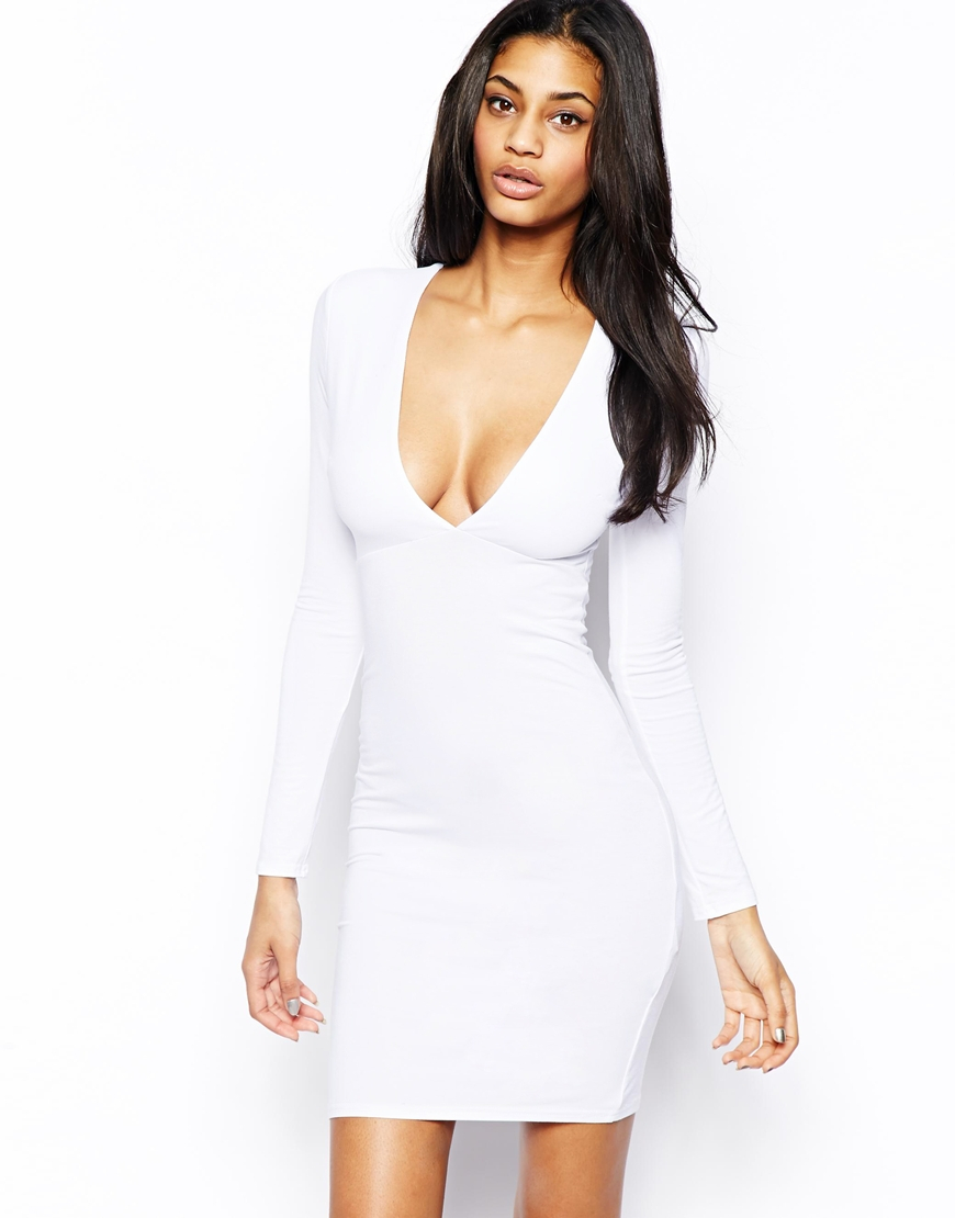 Asos Deep Plunge Long Sleeve Bodycon Dress in White | Lyst